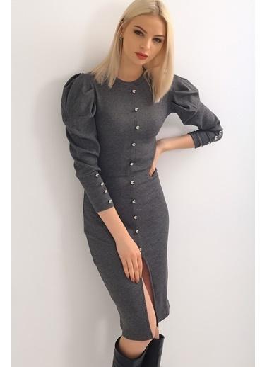 Emjey Önü Ve Kolları Düğme Detay Karpuz Kol Elbise Gri